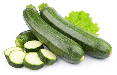 zucchini courgette decorated with green leaf lettuce