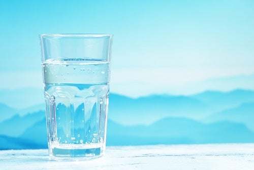 Mineral water against mountain landscape