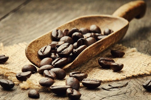 Coffee beans in scoop