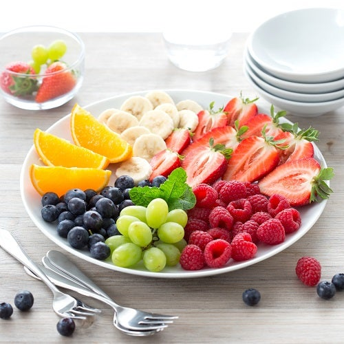 Fruits on a big white plate