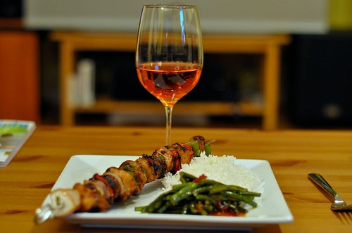 Imagery Rose with Grilled Chicken Kebabs and Garlic and Chili Long Beans