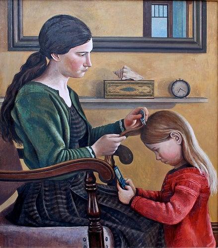 Quadro de mulher aplicando remédio de piolhos em uma menina