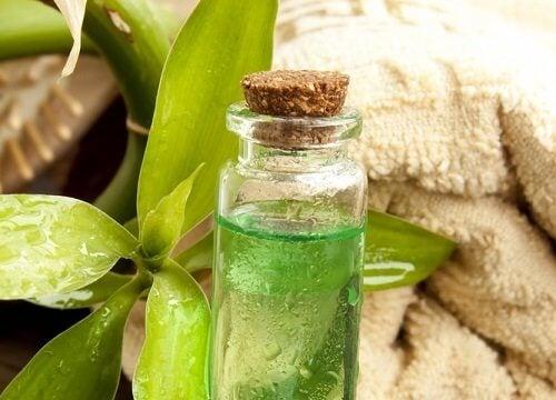 Tratamento contra os fungos nos pés e nas unhas com óleo da árvore do chá