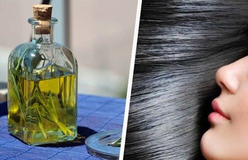 Cabelo suave e escuro com óleo de alecrim