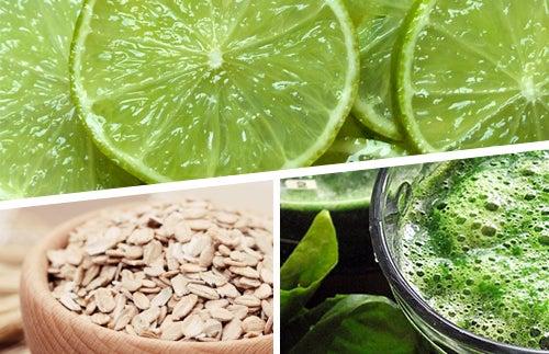 Perca peso com 3 alimentos: limão, aveia e espirulina