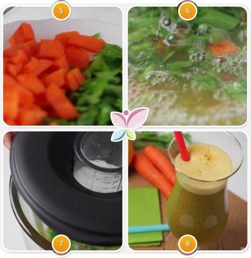 Passos do suco de cenoura, laranja e salsinha