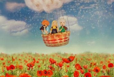 Pessoas passeando em balão
