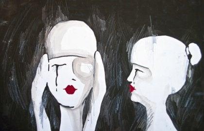 Desenho de mulheres tendo pensamentos tristes e chorando