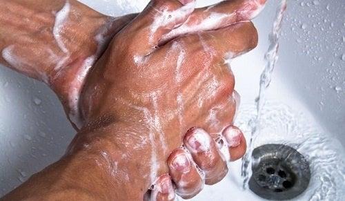 As  mulheres que usam banheiros públicos devem lavar bem as mãos
