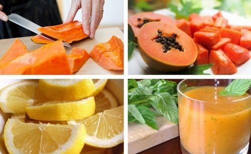Batida de mamão papaia e limão para desintoxicar o estômago
