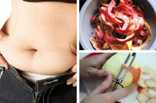 Remédio natural de casca de maçã para perder peso