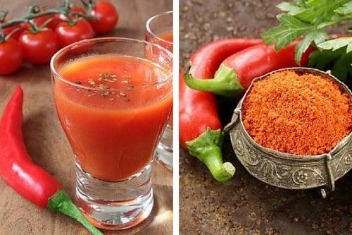 Sucos de pimenta-caiena para emagrecer, baixar o colesterol e aliviar a dor