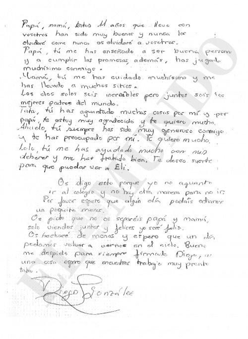 Carta de despedida de Diego