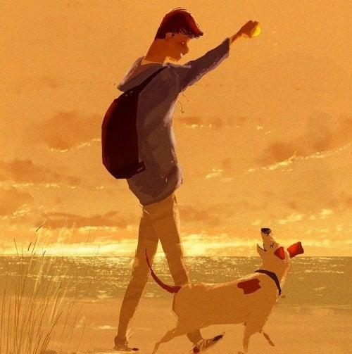 Homem com cachorro que gosta de fazer todo mundo feliz