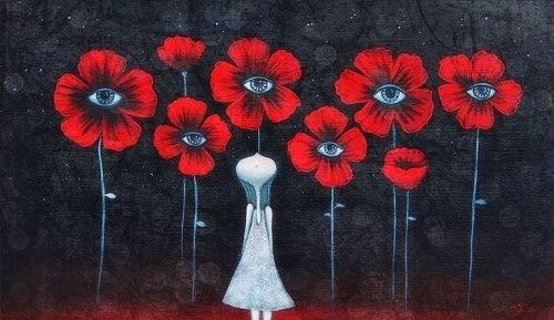 Menina com flores que quer ser ela mesma