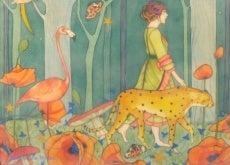 Mulher passeando com animais