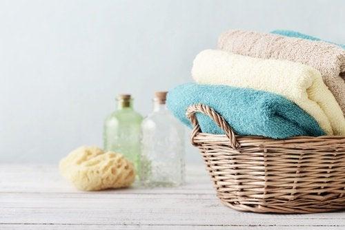Toalhas limpas e lavadas