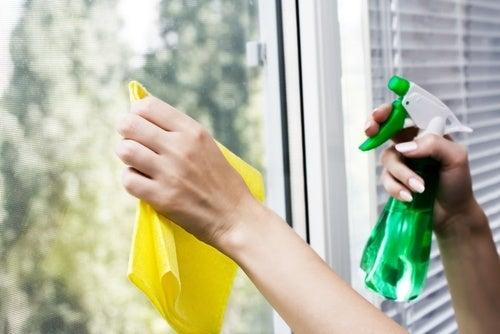 Limpar as janelas com produtos naturais