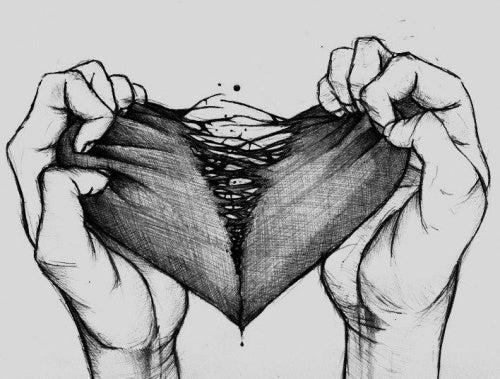 Coração rasgado que não consegue voar