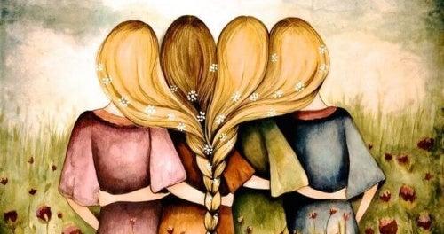 Abraço entre amigas