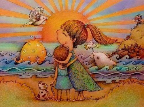 Crianças se abraçando na praia