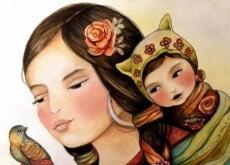 Mãe ensinando seu filho o valor da felicidade e não da perfeição