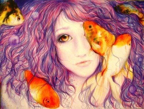 Menina com peixes que não valora sua vida