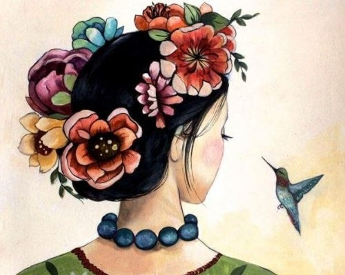 Mulher com beija flor
