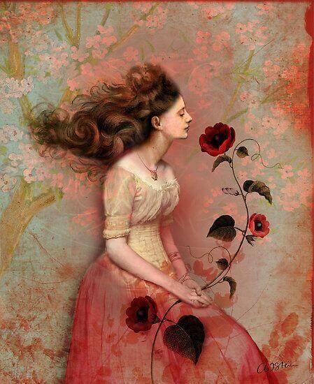 Mulher com rosa vermelha