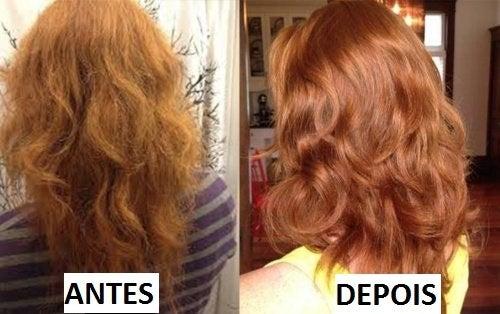 Comparação de antes e depois de mulher que lavou o cabelo com condicionador natural