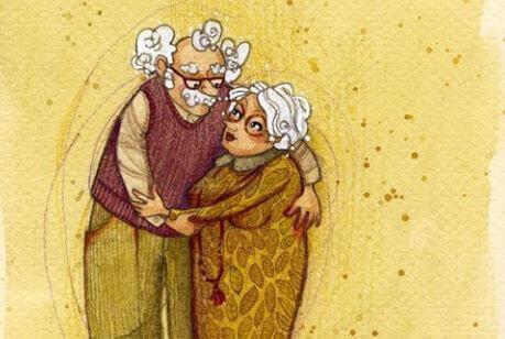Avós abraçados
