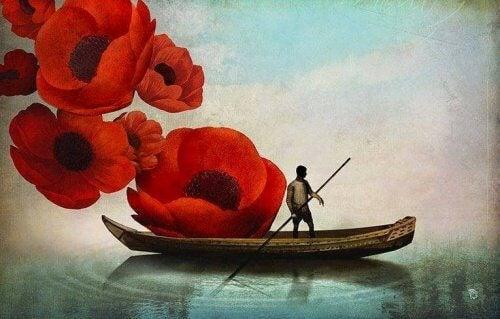 barcos_com_flores_vermelhas_representando_o_passado_estar_em_paz