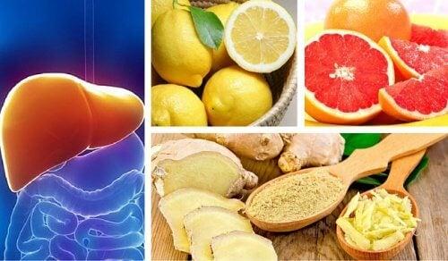 Depuração hepática e renal com limão, toranja e gengibre