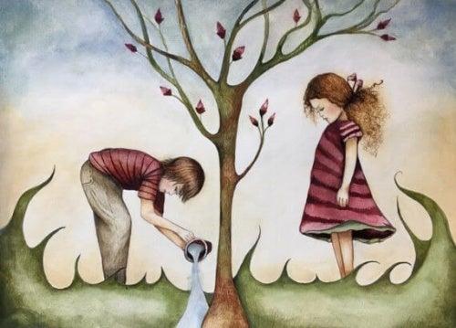 Crianças em uma árvore representando redoma de felicidade
