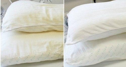 Branquear travesseiros amarelados
