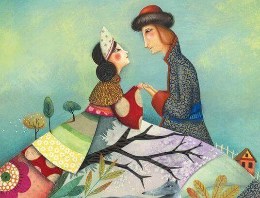 Casal feliz segurando as mãos