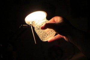 Frasco luminoso brilhando