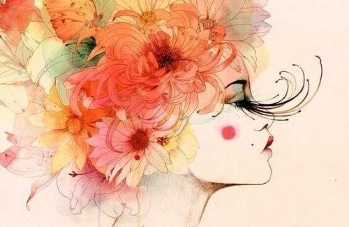 Moça com flores vendo a maldade alheia