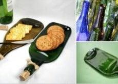 Tábua de lanches feita de garrafa de vidro