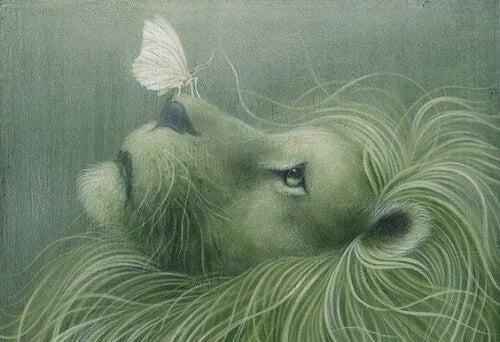 leão-com-borboleta-representando-o-ato-de-deixar-ir