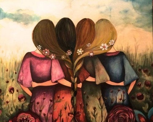 Mulheres unidas em amor com os cabelos trançados