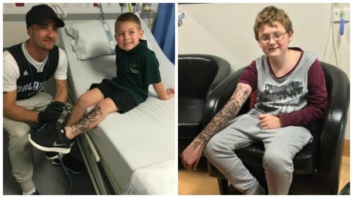 """O homem que realiza """"tatuagens temporárias"""" em crianças doentes para lhes dar força"""