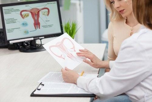 Mulher consultando sobre cistos ovarianos com o médico