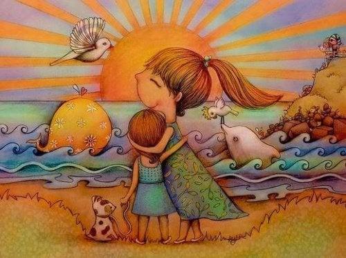 Mãe ensinando inteligência emocional à filha