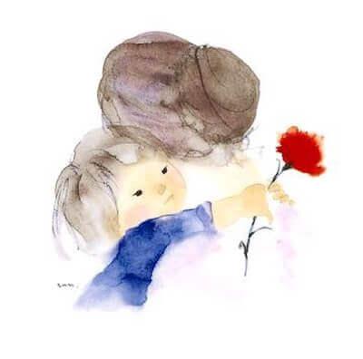 Criança abraçando a avó