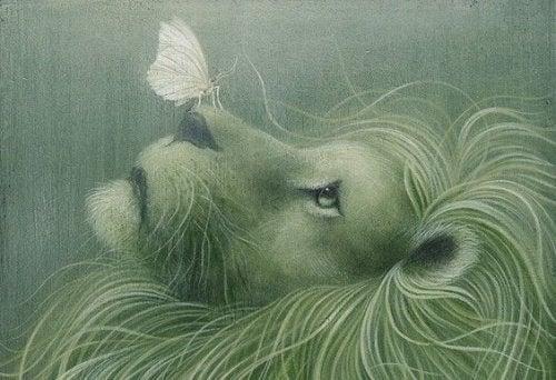 leão-com-borboleta-representando-coragem-de-não-desistir