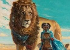Leão e mulher representando coragem para não desistir