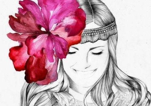 mulher-flor-na-cabeça-mente-tranquila