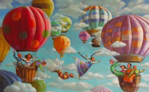 Famíia viajando para sua casa em balões
