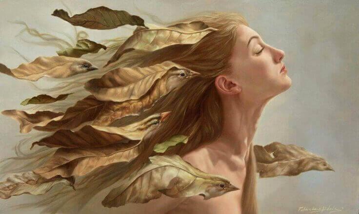 Mulher com folhas evitando dialogar